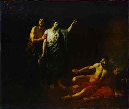 """Joseph Interprets the Butler's and Baker's Dreams in a Prison""  by Alexander Ivanov, 1827 (The Russian Museum, St. Petersburg)"