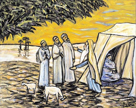 """Abraham and the Three Visitors"" by Israeli Hassidic artist David Avisar"