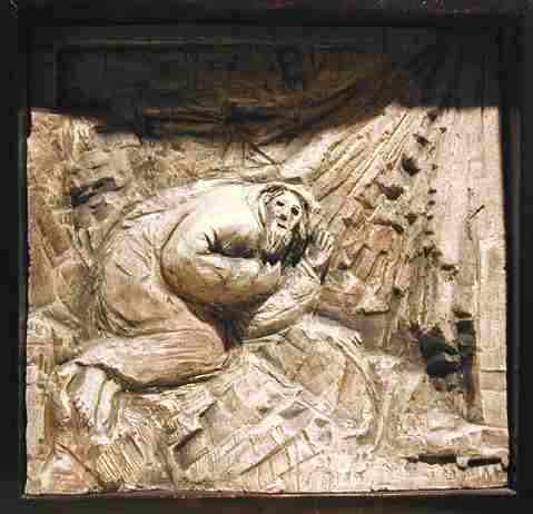 The Call of Abraham, ceramic relief by Richard McBee, 1980
