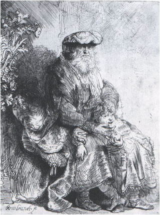 """Jacob caressing Benjamin""  by Rembrandt"