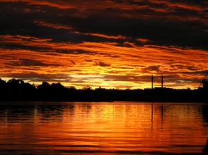 red sky over Rozelle Bay, Australia
