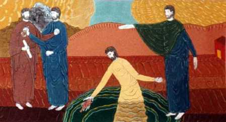 """Temple Tax"" wall painting by Bertrand Bahuet, 1995 (St. Peter's Chapel at Curbans in the southern French Alps)"