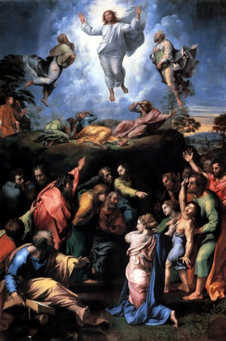 """Transfiguration of Christ""  by Raphael, 1519 (The Vatican).  Two stories are painted:  the Transfiguration, above, and the healing of the demon-possessed boy, below."