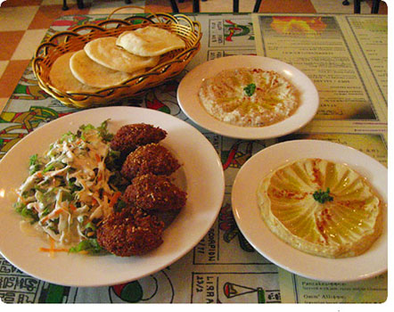 Egyptian food: falafels, hummus, baba ghanoush, pita bread - from Pharoah's Restaurant in Seoul