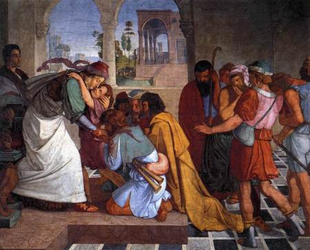"""The Recognition of Joseph by his Brothers"" fresco by Peter Cornelius, 1816 (Nationalgalerie, Berlin)"