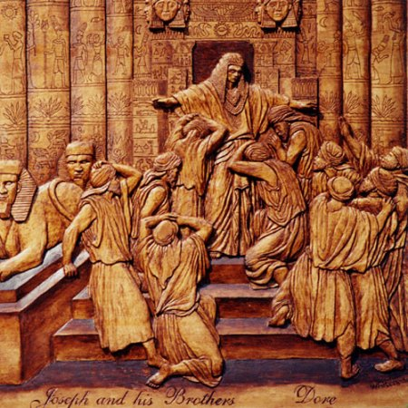 """Joseph and his brothers,"" a woodcarving by contemporary Canadian artist Robert Whitehead"