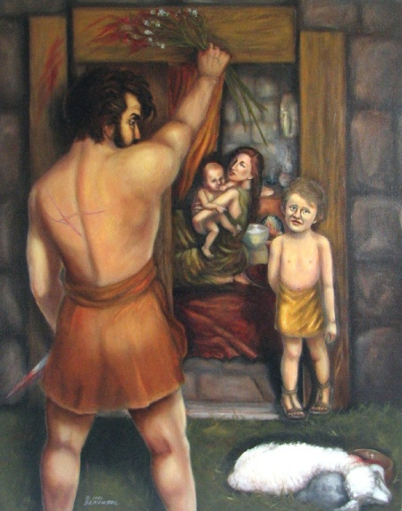 """The Passover -- He Died for Me?""  by contemporary Biblical artist Darlene Slavujac Thau"