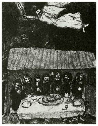 """Passover Meal""  etching by Marc Chagall, 1956"