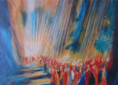 """Crossing the Red Sea--Rays of Light""  by Yoram Raanan, 2002"