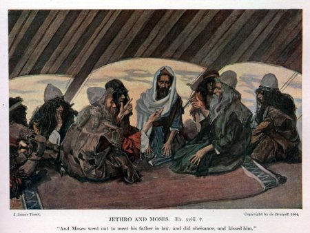 """Jethro and Moses""  watercolor by James Tissot, 1900"