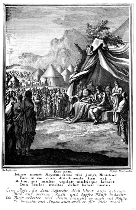 """Jethro Advises Moses""  copper engraving by Dutch artist Caspar Luiken, 1712"
