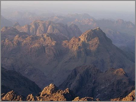 The mountain traditionally assumed to be Mount Sinai, known locally as Jebel Musa.