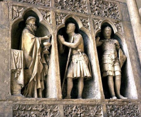 """Abraham and Melchizedek"" (alson known as ""The Knight's Communion""), Reims Cathedral, c. 1250"