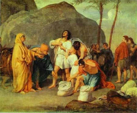 """Joseph's Brothers Find the Silver Goblet in Benjamin's Sack""  by Alexander Ivanov, 1861 (Tretjakov Gallery, Moscow)"