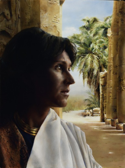 """""""Choose You This Day"""" by Elspeth Young, a painting of Puah considering the order the king has just given her. (I find it ever so interesting that we are know the name of the two midwives, but not of the Pharaoh!)"""