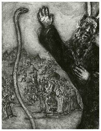 """""""Moses and the Serpent"""" etching by Marc Chagall, 1956."""