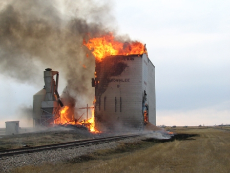 Burning grain elevator (wheat and sunflower seeds) in Saskatchewan, Canada.