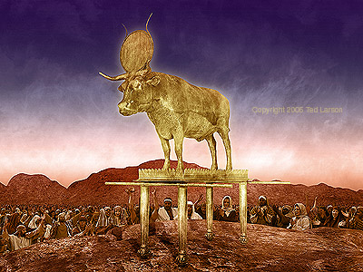 """The Golden Calf Incident""  digital art by Ted Larson"