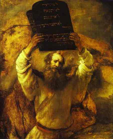 """Moses Smashing the Tablets of the Law""  oil on canvas by Rembrandt, 1659  (Gemaldegalerie, Berlin)"