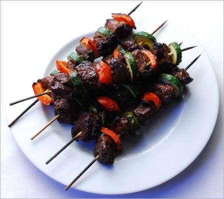 Grilled goat kebabs