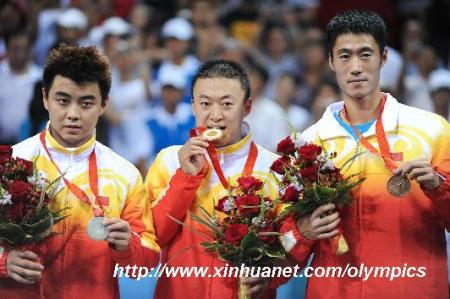 China won Gold, Silver, and Bronze in the Men's Singles -- table tennis, 2008 Olympic Games in Beijing.