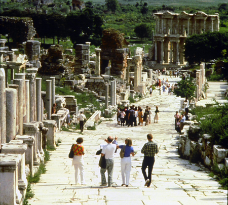 One of the main colonnaded streets in Ephesus, looking down to the library.  Excavations were started here over a hundred years ago, and are still ongoing.