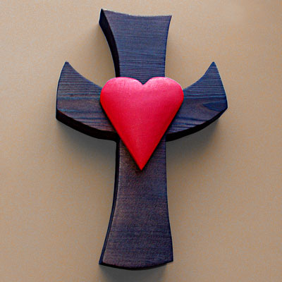 18. cross with heart