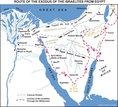 -- one theory about the route followed by the Israelites --