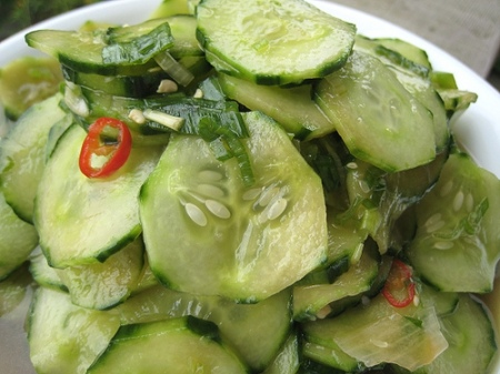 11. cucumber, onion, garlic salad