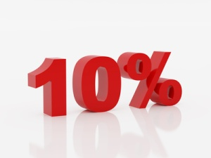 Ten percent of red color