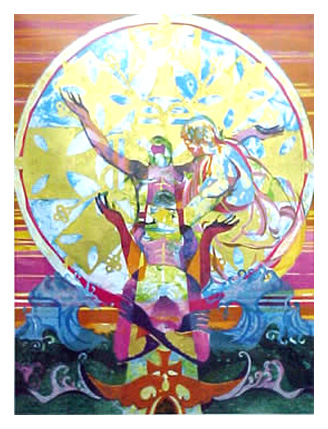 """Ethiopian Eunuch""  American artist Paul Goodnight.  From his website:  ""Paul Goodnight's vibrant and emotional work has often been a reflection of his life--from the demons he faced during the Vietnam War to the time he was incarcerated.  ""I've learned that art is making me, rather then me creating it."""