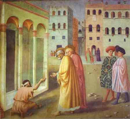 """Healing of the Cripple"" by Masolino, 1425 (Brancacci Chapel, Santa Maria del Carmine, Florence, Italy)"