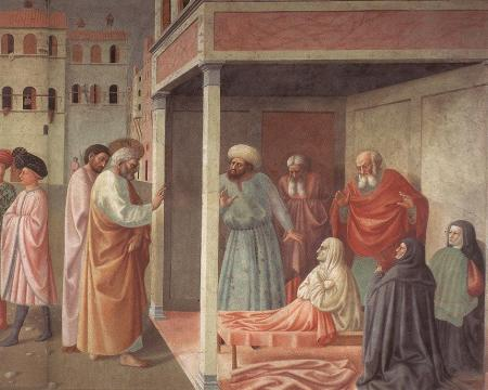 """Healing of Dorcas"" by Masolino, (Brancacci Chapel, Santa Maria del Carmine, Florence, Italy). This is the right-hand portion, the rest of the picture above. Note the same guy in both pictures -- in the gray tights and hat, and pink tunic."