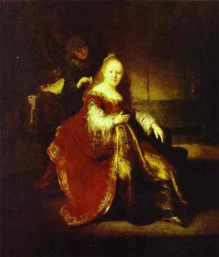 """Esther Preparing to Intercede with Assuerus""  by Rembrandt, 1633 (National Gallery of Canada, Ottawa)"