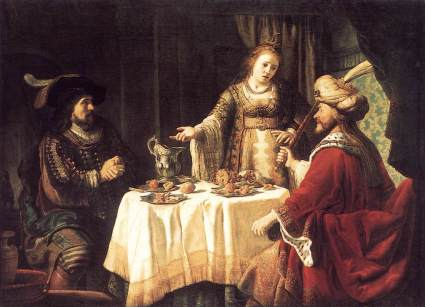 """The Banquet of Esther and Ahasuerus"" by Dutch Baroque era painter Jan Victors, 1640's (Staaliche Museen, Kassel)"