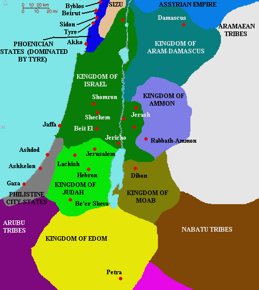 Map Divided Kingdom Israel Judah http://dwellingintheword.wordpress.com/2010/12/08/418-1-kings-12/