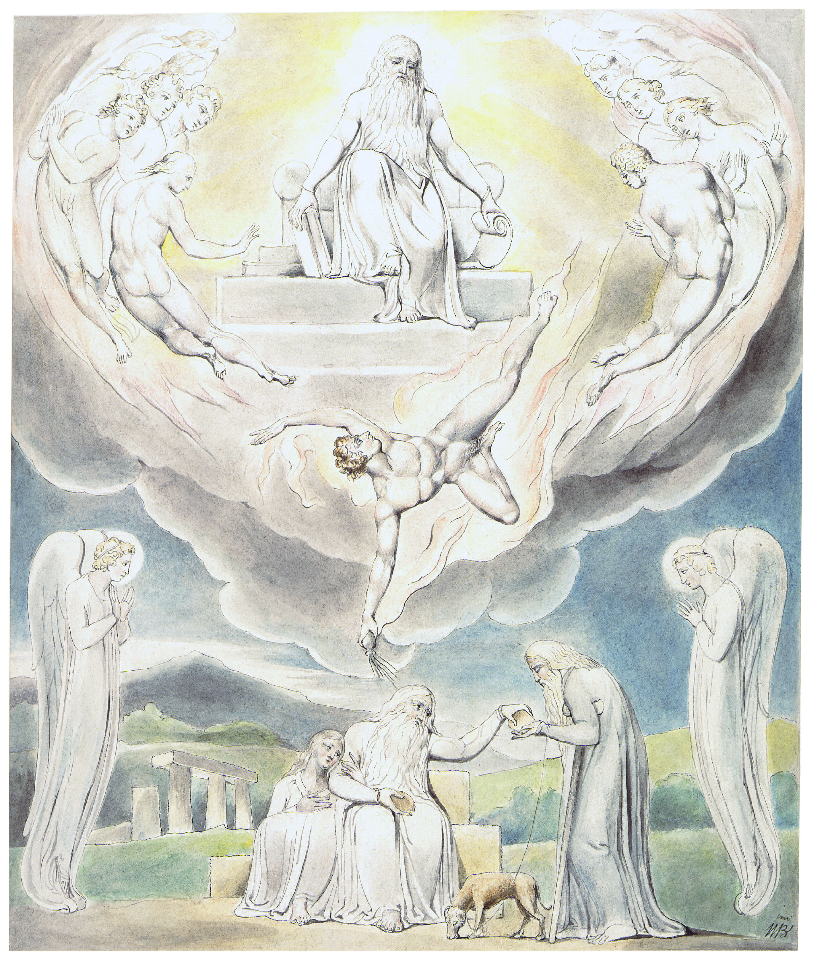 satan going forth from the presence of the lord by william blake 1805 morgan library new york
