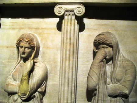 "Detail from the ""Sarcophagus of the Crying Women,"" from Sidon, now in the Istanbul Archaeological Museum"