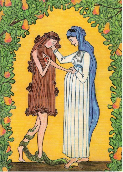 """Mary comforts Eve."" Crayon and pencil by Sr. Grace Remington, OCSOCopyright 2005, Sisters of the Mississippi Abbey"