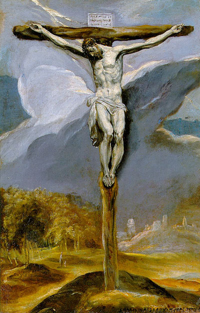 """Christ on the Cross"" oil on canvas by El Greco, 1577."