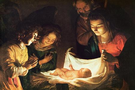 """Adoration of the Child"" by Gerrit van Honthorst, 1620 (Uffizi, Florence, Italy)"