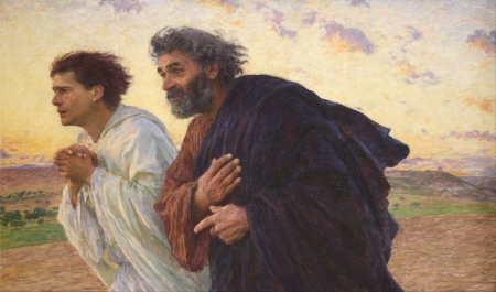 """The Disciples Peter and John Running to the Sepulcher on the Morning of the Resurrection"" by Eugène Burnand, c.1898."