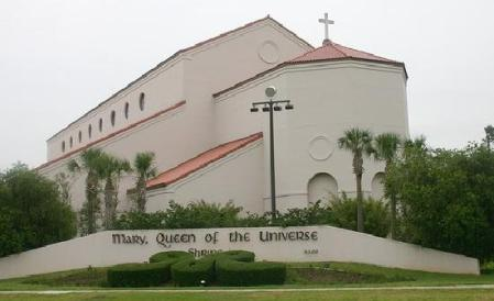 Going west on I4 in Orlando, close to the attractions, is a beautiful Roman Catholic church named Mary, Queen of the Universe.