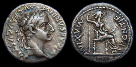 A Roman imperial denarius (the coin Jesus asked for) was silver with the picture of Emperor Tiberius. These coins were minted from 14 to 34 AD.