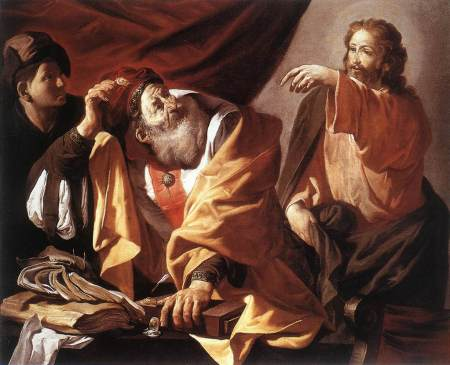 """The Calling of St. Matthew"" by Hendrick Terbrugghen, 1616 (Museum of Fine Arts, Budapest)"