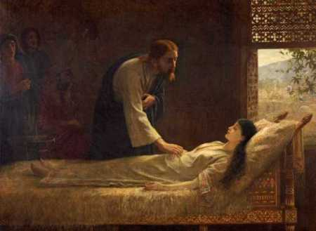 """The raising of Jairus' daughter"" by Edwin Long"