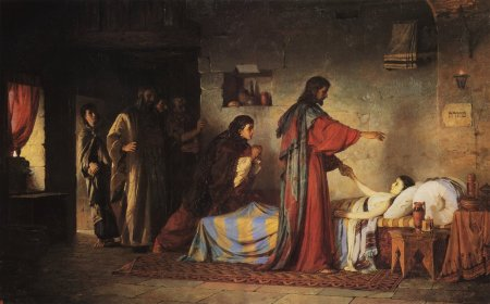 """Raising of Jairus' Daughter"" by Vasily Dmitrievich Polenov, 1871 (The Museum of the Academy of the Arts, St. Petersburg, Russia)"