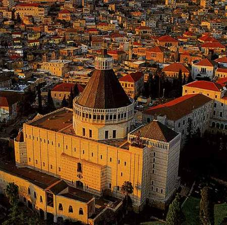The city of Nazareth today is dominated by the distinctive roof of the beautiful Basilica of the Annunciation.