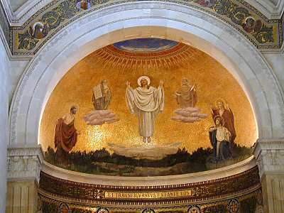 A mural from the Church of the Transfiguration on Mount Tabor.  The church belongs to the Franciscans.