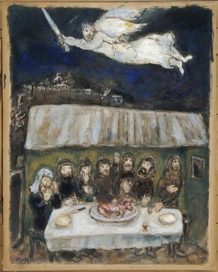 """Passover Meal""  by Marc Chagall, 1956"